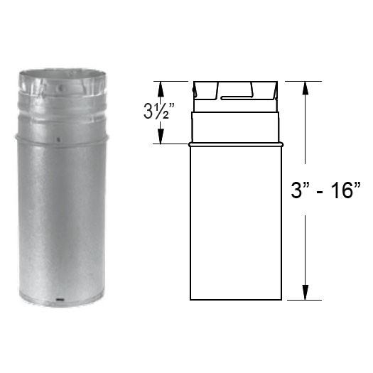 Duravent Pelletvent Pro 18 Quot Galvanized Pipe Extension 3pvp 18a