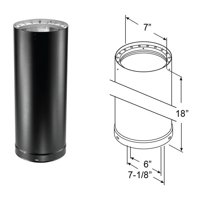 Duravent Dvl Double Wall Black Pipe 18 Quot Length 8618