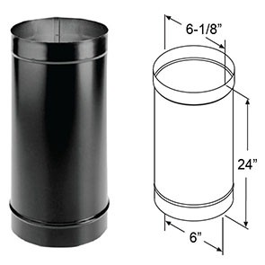 "DuraVent DuraBlack Single-Wall Black Pipe 24"" 1624"