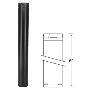 "DuraVent PelletVent Pro 6"" Black Pipe Length 3PVP-06B"