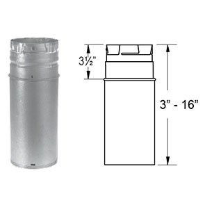 "DuraVent PelletVent Pro 18"" Galvanized Pipe Extension 3PVP-18A"