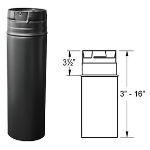 "DuraVent PelletVent Pro 18"" Black Pipe Extension 3PVP-18AB"
