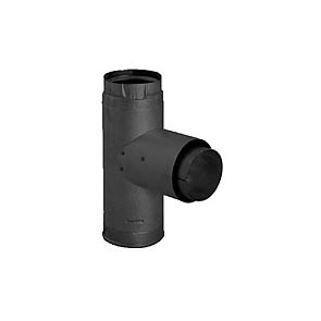 DuraVent PelletVent Pro Adapter Tee w/Clean-Out Tee Cap Black 3PVP-TADB