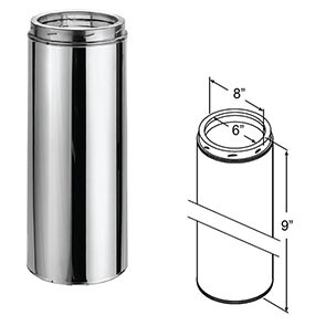 "DuraTech Stainless Steel Chimney Pipe - 9"" 9408"