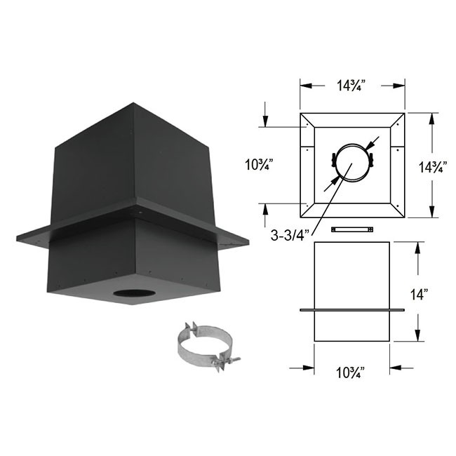 Duravent Pelletvent Pro Cathedral Ceiling Support Box 3pvp Cs