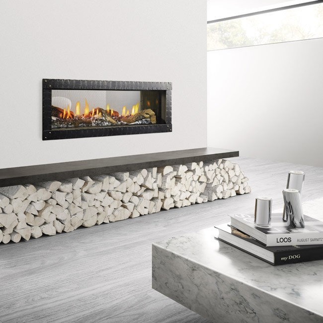 Heat U0026 Glo MEZZO 48 See Through Gas Fireplace With Quattro Front
