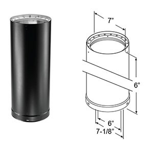"""DuraVent DVL Double-Wall Black Pipe 6"""" Length 8606"""